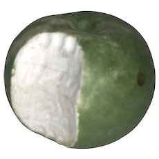 Early Italian Alabaster Stone Fruit Green Apple w/ Bite Rare Example