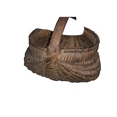 "Early Antique 1800's Primitive Miniature 3"" Dark Brown Buttocks Basket Early Original Basket"