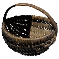 "Early Antique 5"" Brown Split Oak Miniature Dark Brown Buttocks Basket Excellent Example"