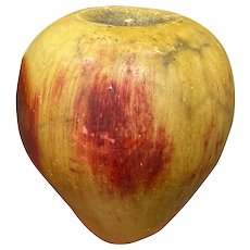 "Early Italian Alabaster Stone Fruit 5"" Oversize Apple Great Patina Old Example"