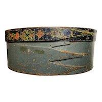 "Early Antique 1800's Primitive 14"" Painted Shaker Bridal Box Amazing Box Great Patina Original Paint AAFA"
