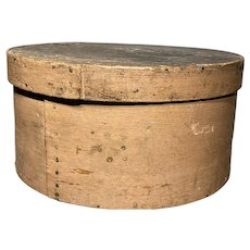 "Early Antique 1800's Salmon Pantry Box 10"" Diameter Original Paint Fabulous Box Great Patina"