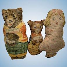 Early Antique 1920's Cloth Rag Lithograph Kellogg's Daddy Johnny Bear Goldilocks Set of Three