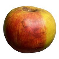 """Early Italian Alabaster Stone Fruit 6"""" Oversize Apple Exceptional Example Great Patina Old Example"""
