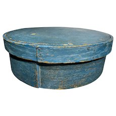 """Early Antique Exceptional 1800's Primitive 15"""" Blue Pantry Box Amazing Blue Paint Great Patina Original AAFA"""
