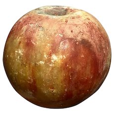 Early Italian Alabaster Stone Fruit Red Apple Paint Wear Great Patina Old Example