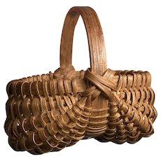 """Early Antique 3 1/2"""" Brown Split Oak Miniature Buttocks Basket Excellent Example Double Strap"""