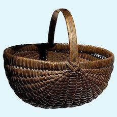 "Early Antique Century Dark Brown Split Oak Miniature Buttocks Basket 6"" Diameter"