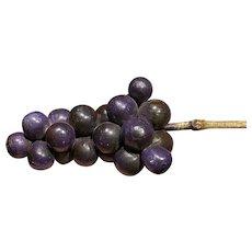 Early Vintage Italian Alabaster Stone Fruit Old Light Purple Alabaster Grapes NM
