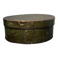 "Early 1800's Miniature 5"" Oval Green Pantry Box Diameter Original Green Paint"