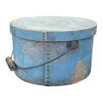 """Early 1800's Antique Exceptiona Largel Blue Pantry Box 11"""" Original Paint w/ Handle Original Blue Paint"""