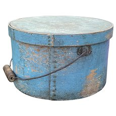 "Early 1800's Antique Exceptiona Largel Blue Pantry Box 11"" Original Paint w/ Handle Original Blue Paint"