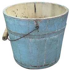 "Early Antique 1800s Exceptional Primitive 8"" Original Blue Bucket over Salmon Fantastic Early Blue Pail"