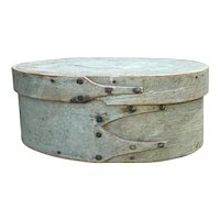 """Early 1800's Shaker 3-Finger Miniature Gray Blue Civil War Color Shaker Pantry Box 6 1/2"""" Diameter Exceptional"""