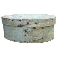 "Early 1800's Shaker 3-Finger Miniature Gray Blue Civil War Color Shaker Pantry Box 6 1/2"" Diameter Exceptional"