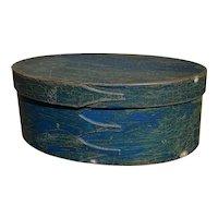 "Exceptional Antique 1800's Shaker 4- Finger Blue Pantry Box 10"" Original Blue Paint Fantastic Example"