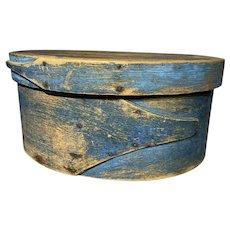 "Exceptional 1800 Antique 14.5"" Large Painted Shaker Blue Oval Pantry Box Original Paint Fabulous"
