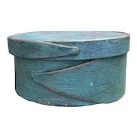"Early 1800's Shaker Style 2-Finger Round Blue Turquiose Pantry Box 5"" Diameter Fantastic Miniature Box"