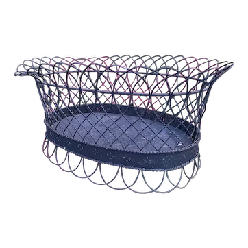 """Early Antique French 15"""" Wire Basket Early Wire Great Display Oval Wire Basket"""