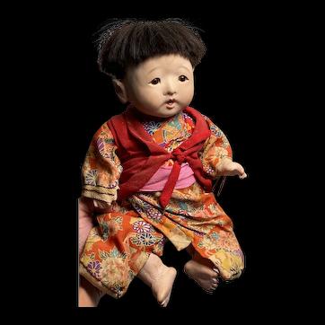 "Early 13"" Traditional Japanese Ichimatsu Glass Eye Baby Doll 1920s-30s Fantastic Example"
