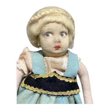 """Early Antique 1920's Beautiful 12"""" Lenci- Type Cloth Girl Doll Fantastic Cloth Doll NM"""