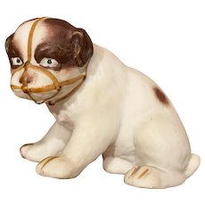 """Early Antique German Bisque Heubach Bisque 3"""" Dog with Muzzle German Puppy NM+"""