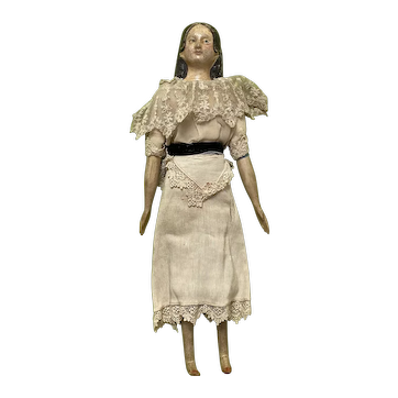 "Early Antique 12"" German 1800's Milliners Model Doll All Original w/ Long Curls"