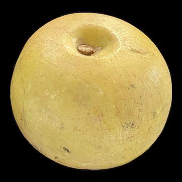 Early Italian Alabaster Stone Fruit Realistic Alabaster Yellow Apple Nice Piece
