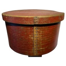 """Early 1800's Antique Exceptional Red Pantry Box 12"""" Original Red Paint Fantastic"""