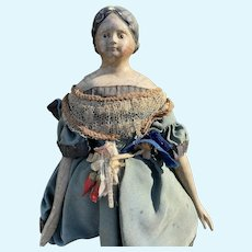 """Early Antique 15"""" German or French 1830-50s Milliners Model Doll Original Outfit"""