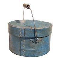 "Early 1800's Miniature Round Blue Pantry Box 3"" Diameter w/ Handle Fantastic NM+"