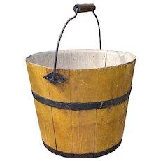 "Early Primitive 6"" Original Yellow Mustard Shaker Bucket Pail Original Paint NM"