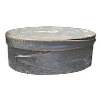 "Early Miniature 6"" Oval Blue Gray Harvard Shaker Pantry Box Original Paint Great Size"