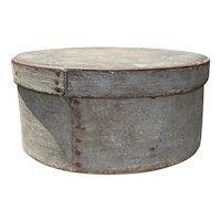 "Early 1800's Primitive Round Blue Gray Pantry Box 8"" Diameter Fantastic Patina"