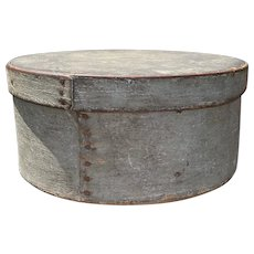 "Early 1800's Primitive Round Blue Gray Pantry Box 8"" Diameter Fantastic Patina"