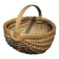 "Early Antique Primitive Split Oak Miniature Dark Brown Basket 6"" Diameter Nice"