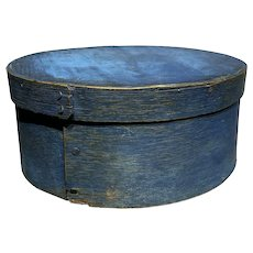 """Early 1800s Antique Exceptional Blue Pantry Box 7"""" Original Paint Small Box Nice"""
