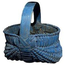 """Early Antique Primitive Split Oak Miniature Blue Basket 5"""" Diameter Fantastic Example Old Blue Paint"""