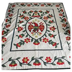 Exceptional Early Vintage American Glory Eagle Heart Flower Americana Quilt