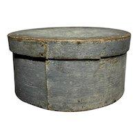 "Early 1800's Primitive Round Light Blue Pantry Box 8"" Diameter Fantastic Patina"