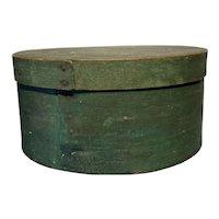 "Early 1800's Primitive Round Green Pantry Box 9"" Diameter Fantastic Box"