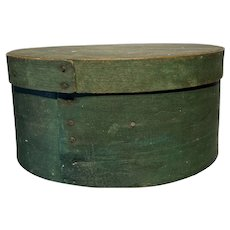 "Early 1800's Primitive Round Green Pantry Box 9"" Diameter Fantastic Box"
