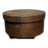 """Early 1800's Primitive Round Dark Brown Pantry Box 8"""" Diameter Fantastic Patina"""