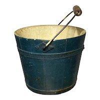 "Early Primitive 5"" Original Blue Green Shaker Bucket Pail Original Paint Amazing Piece"