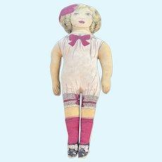 "Vintage 1930's Original 16"" Large Cloth Doll Beautiful Cloth Doll W Ribbon NM+"