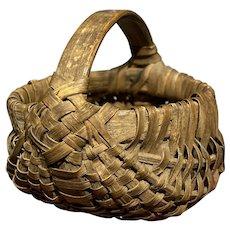 """Exceptional Early Antique Primitive Split Oak Miniature Basket 2 1/2"""" Diameter"""