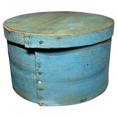 """Early 1800's Antique Exceptional Blue Turquoise Pantry Box 7"""" Original Paint"""