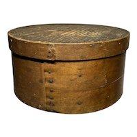 """Early 1800's Primitive Round Dark Brown Pantry Box 10""""Diameter Fantastic Patina"""