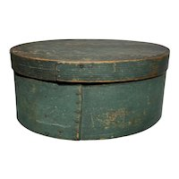 "Early 1800's Primitive Large Oval Green Pantry Box 12"" Diameter Fantastic Patina Original Box"