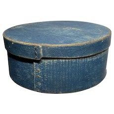 "Early 1800's Primitive Round Blue Pantry Box 8"" Diameter Fantastic Antique Box"